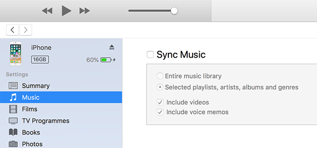 Sync iTunes music with an iPhone