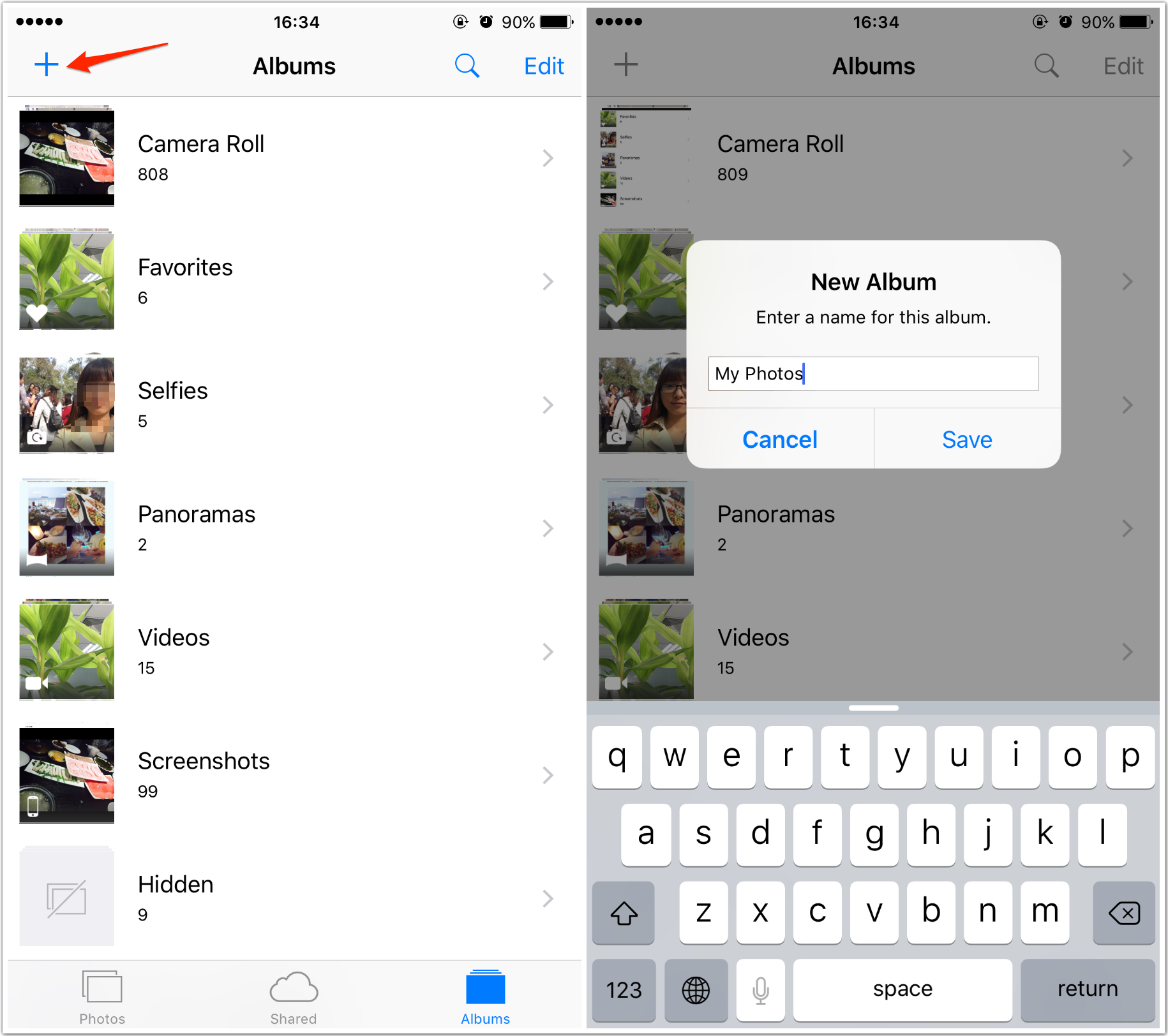 How to Create a New Album on iPhone 6/6s/SE