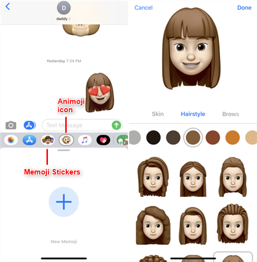 Tap Monky icon to Add New Memoji and Edit with Different Styles