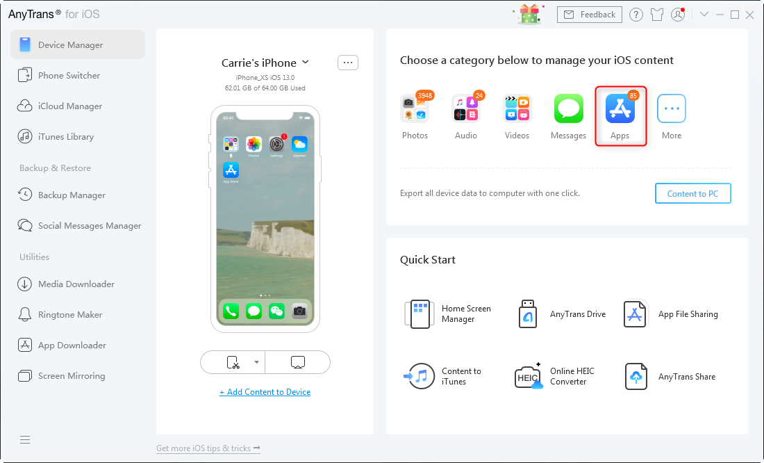 How to Delete Apps on iPhone X/XS/XR via AnyTrans for iOS – Step 1