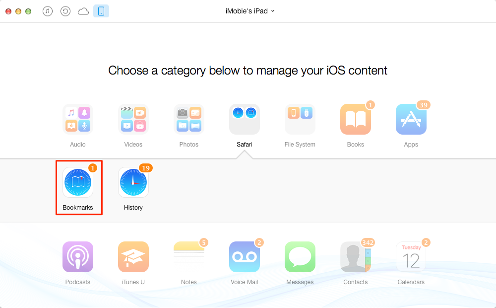 How to Delete iPad Bookmarks with AnyTrans – Step 2