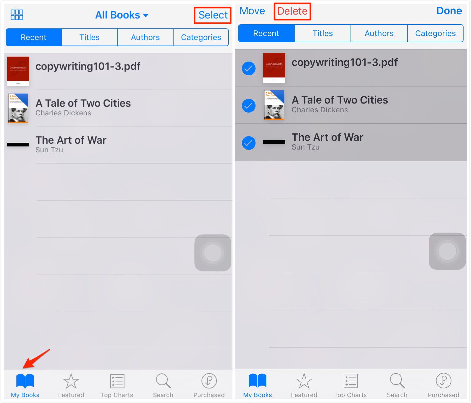 How Remove Books from iPhone in iBooks