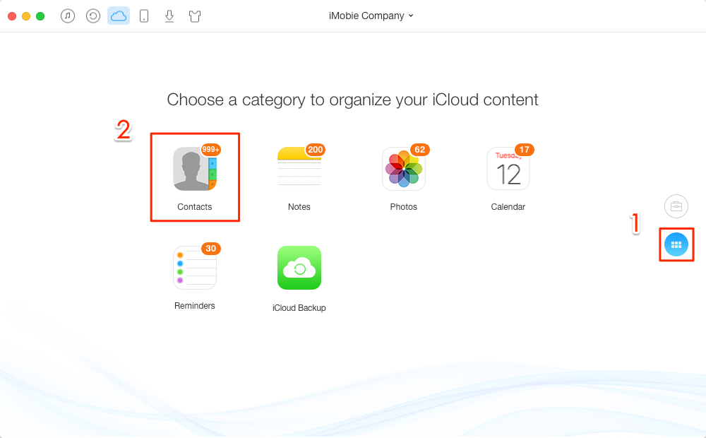 How to Delete iCloud Contacts with AnyTrans – Step 2