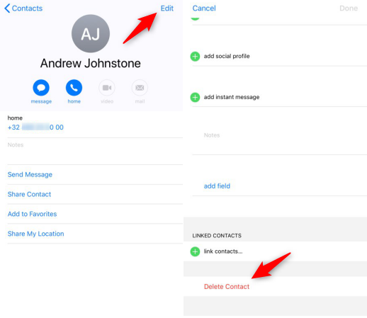 Delete Contacts within iPhone X/XS (Max)/XR