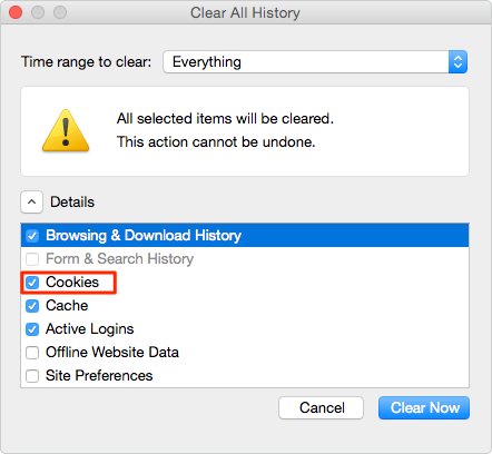 Delete Cookies on Mac in Firefox