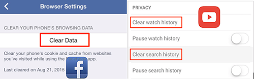 "Clean ""Documents and Data"" in Facebook and YouTube on iPhone"