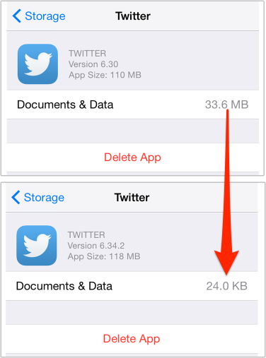 "Clean ""Documents and Data"" in iPhone Twitter App"