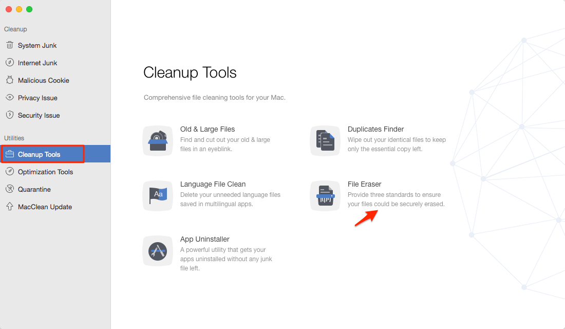How to Erase Files on Mac with MacClean – Step 1