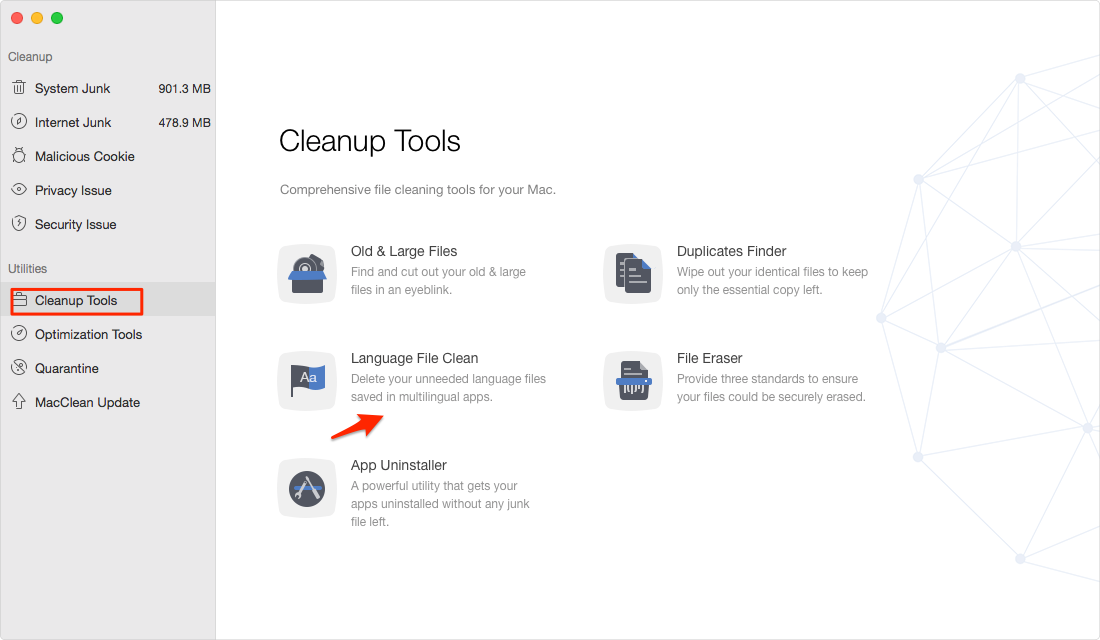 How to Delete Language Files on Mac with MacClean – Step 1