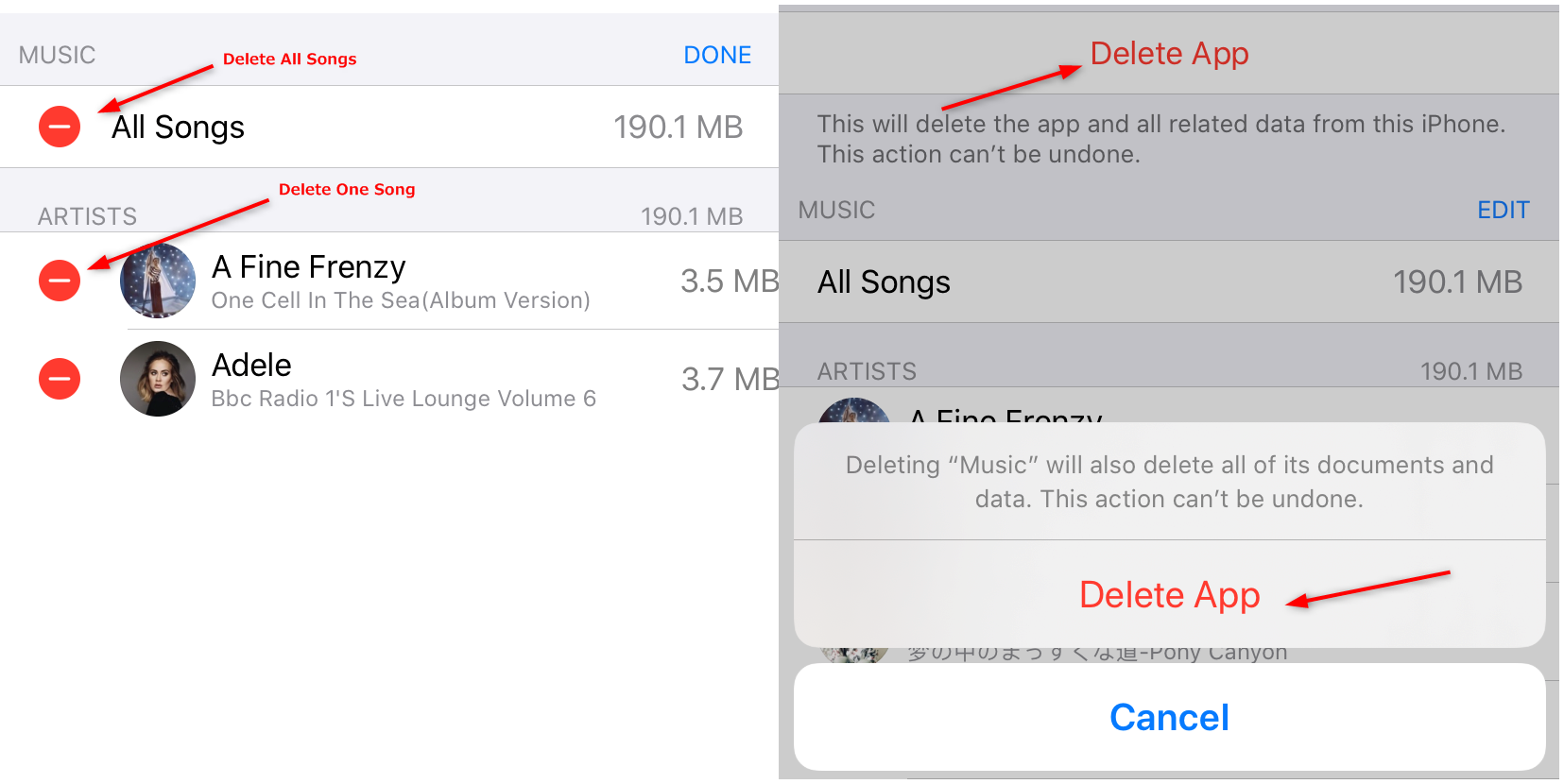Delete Music from iPhone via Settings