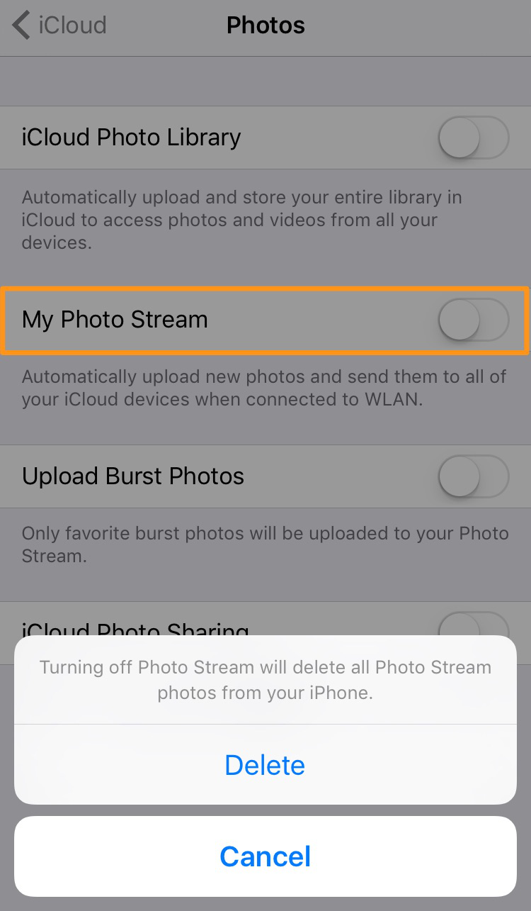 How to Delete Photos from iCloud - Turn off My Photo Stream