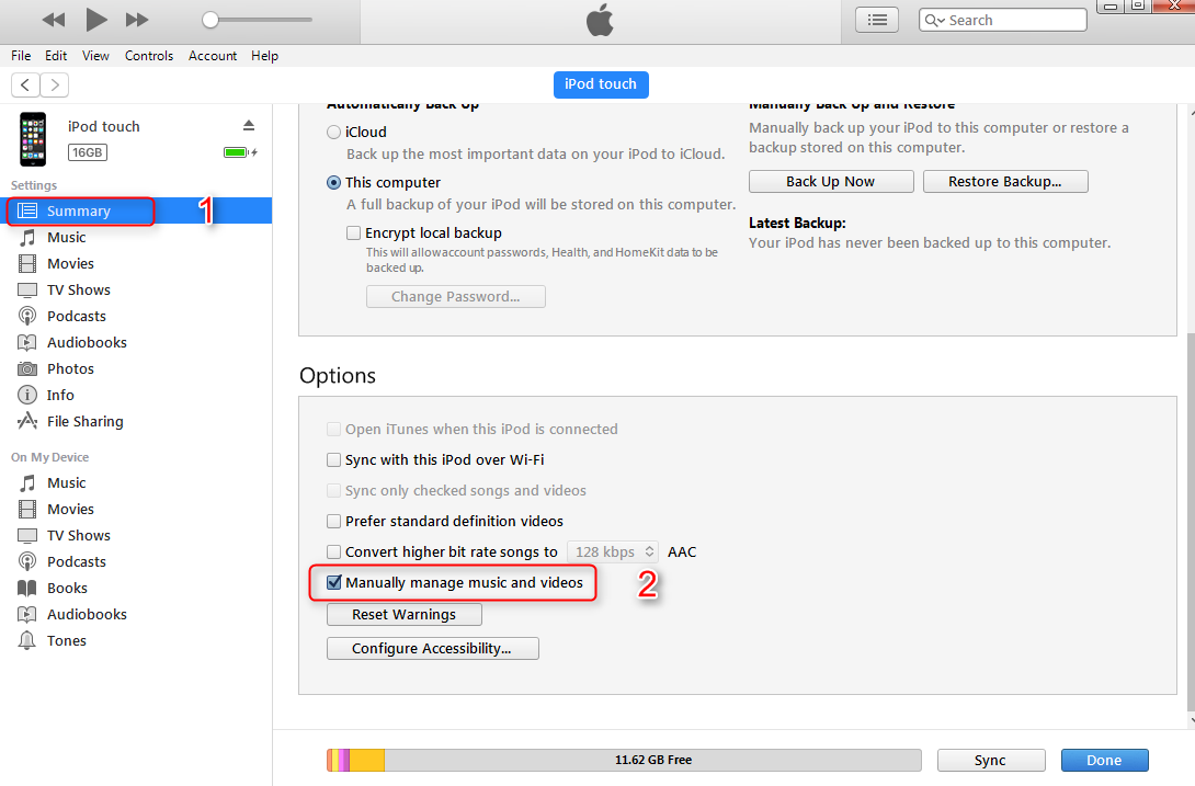 How to Delete Music from iPod/iPod touch with iTunes - Step 1