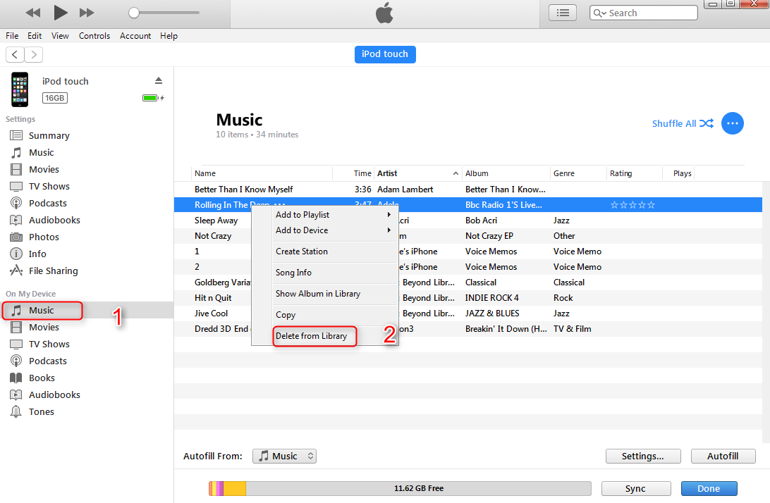 How to Delete Music from iPod/iPod touch with iTunes - Step 2