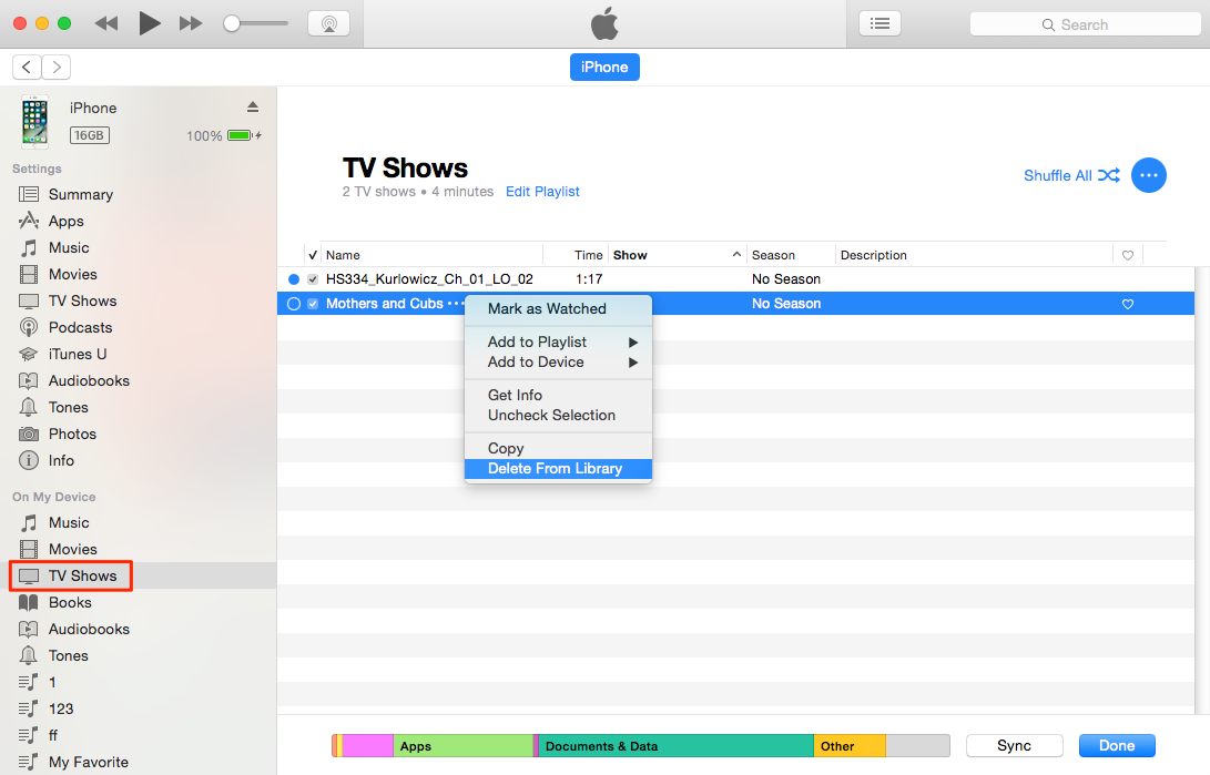 How to Delete TV Shows from iPhone via iTunes