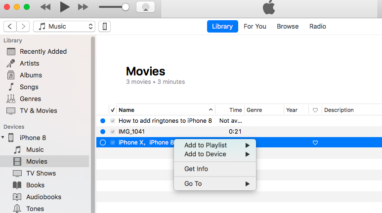 Can't Delete Movies from iPhone 8 via iTunes