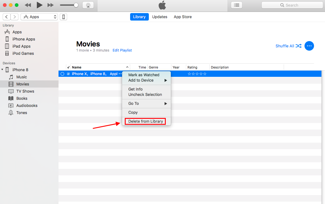 Delete Videos from iPhone X/XS (Max)/XR Using iTunes