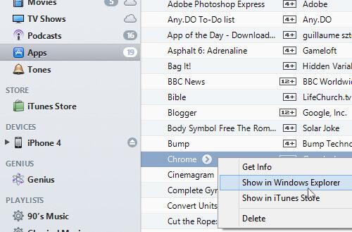 Select Show in Windows Explorer
