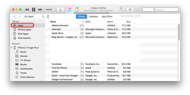 Manage Apps in iTunes 12.6 or older