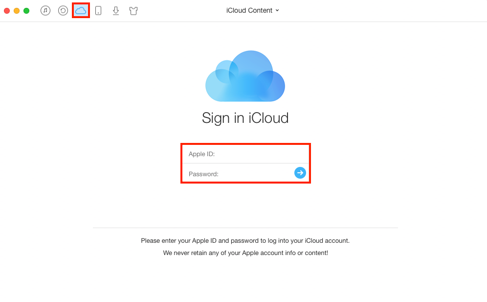 How to Download All Photos from iCloud with AnyTrans – Step 1