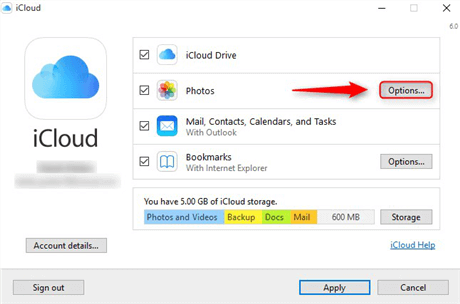 Download iCloud Control Panel and Click on Options