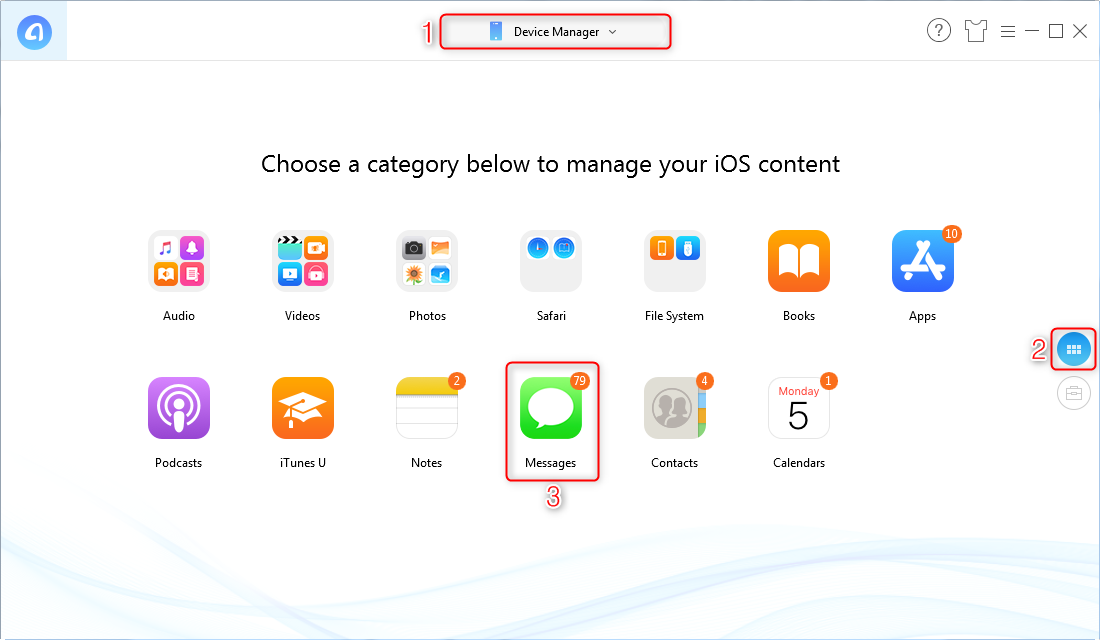 How to Email Text Messages from iPhone via AnyTrans for iOS - Step 1