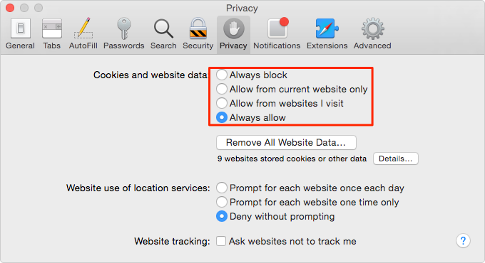How to Enable/Disable Cookies on Mac in Safari