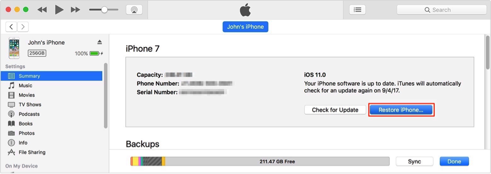 How to Erase Disabled iPhone via iTunes