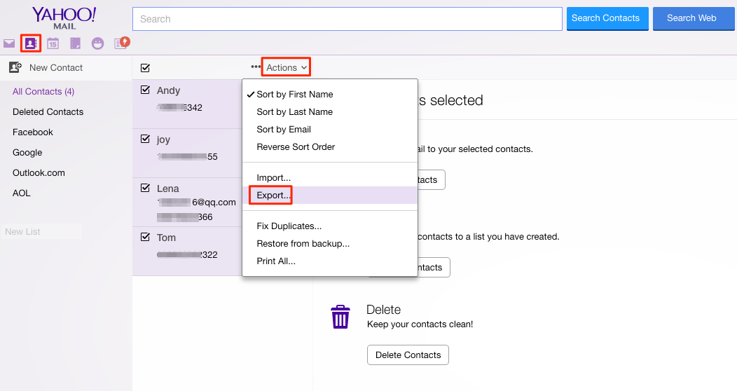 Export Yahoo Contacts to iPhone – Step 1