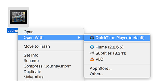 Launch video in QuickTime Player