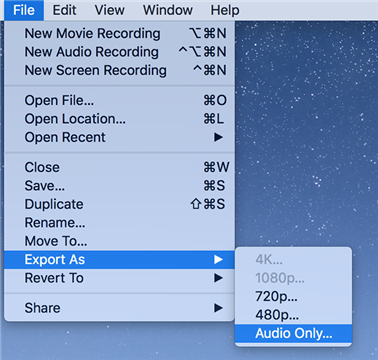 Export as audio in QuickTime Player