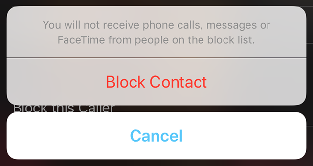 FaceTime Block Contact Prompt