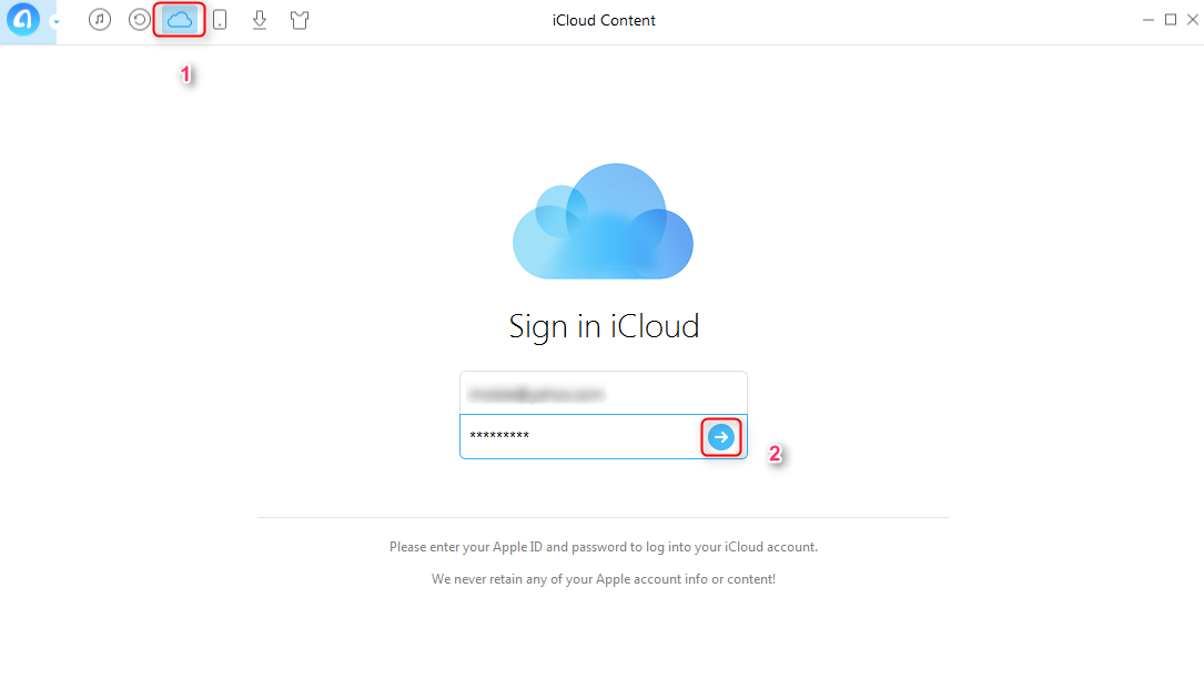 How to Find Contacts from iCloud with AnyTrans–Step 2