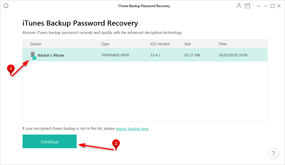 Choose the Right Backup to Recover Its Passcode via AnyUnlock