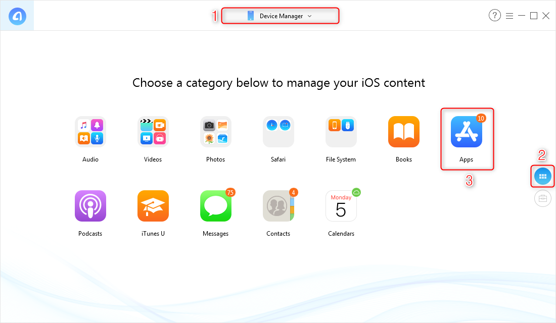 How to Find Previous Apps on iPhone via AnyTrans for iOS - Step 1