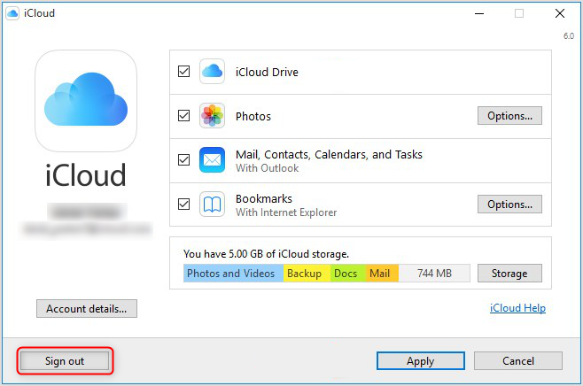 How to Fix iCloud Not Working on Windows 10 via Log-Out