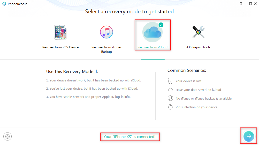 How to Fix: iCloud Restore Not Working via PhoneRescue - Step 2