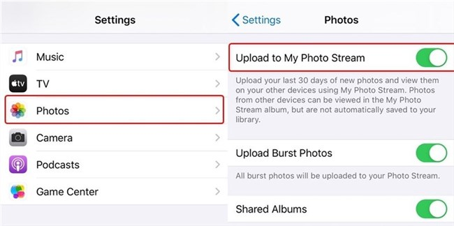 Enable My Photo Stream on iPhone