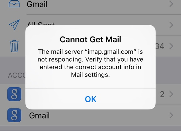 iPhone cannot get mail