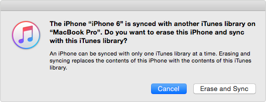 iTunes Pop-up Window: The iPhone is Synced with Another iTunes Library
