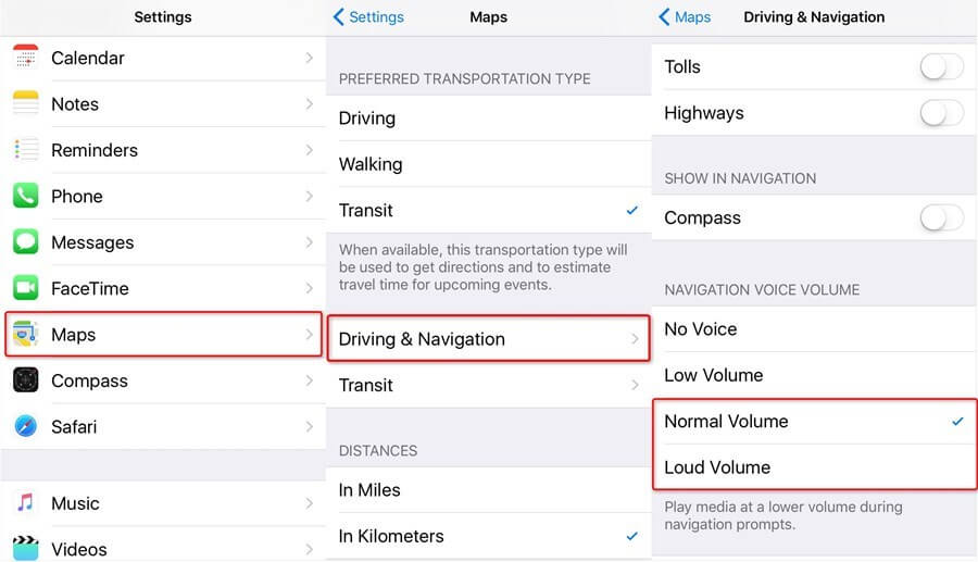 Reset iPhone Maps Navigation Voice Volume