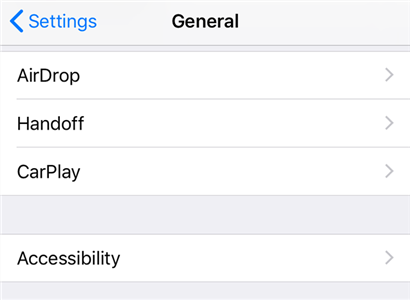 Accessibility settings on the iPhone
