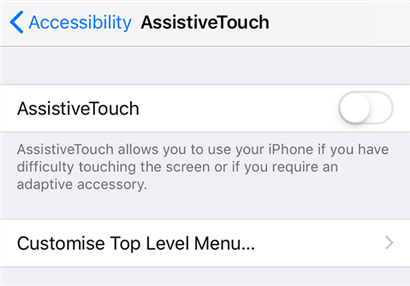 Turn on AssistiveTouch on your iPhone