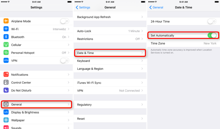 Fix iPhone Clock Wrong by Changing Time Set into Automatically