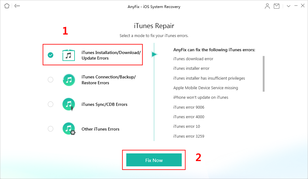 Choose iTunes Installation/Download/Update Errors to Fix