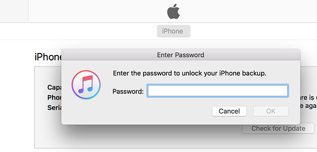 iTunes Prompting for a Backup Password