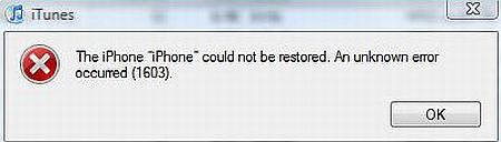 iTunes Error 1603