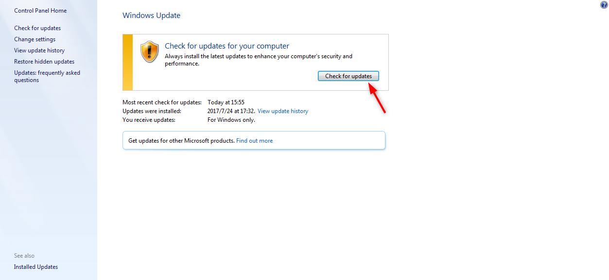 Fix iTunes Error 1644 - Update Windows - Step 2