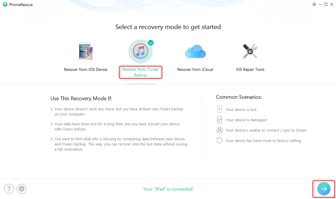 iTunes Error 1646 - Restore from iTunes Backup with iTunes Alternative - Step 1