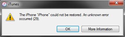 iTunes Error 29