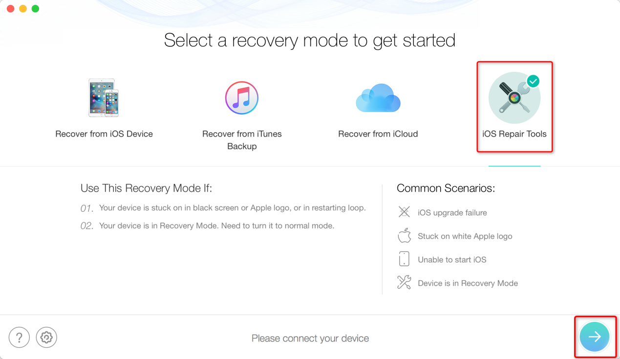 How to Fix iTunes Error 29 by Restoring iOS System via PhoneRescue - Step 2